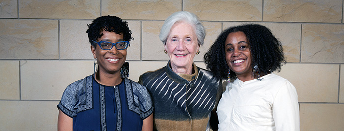 2016 Carol R. Brown Creative Achievement awardees pictured with Carol R. Brown (middle): writer Yona Harvey, Established Artist Award recipient (on left) and fashion designer Tereneh Mosley, Emerging Artist recipient (on right).