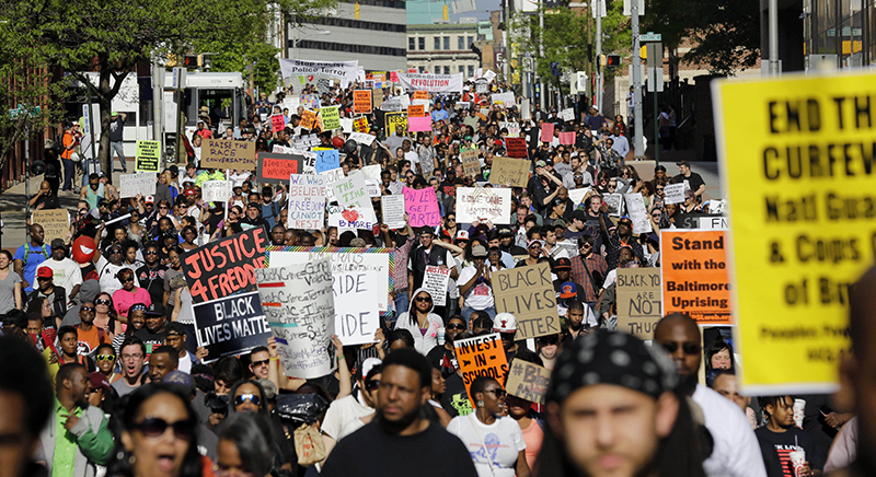 Protestors in Baltimore on April 29, 2014, following the death of Freddie Gray while in police custody.