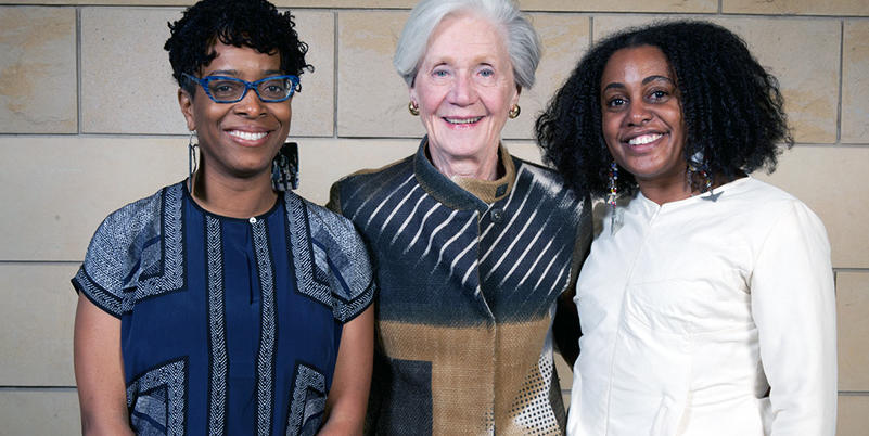 2016 Carol R. Brown Creative Achievement awardees pictured with Carol R. Brown (middle): writer Yona Harvey, Established Artist Award recipient (on left) and fashion designer Tereneh Mosley, Emerging Artist Award recipient (on right).