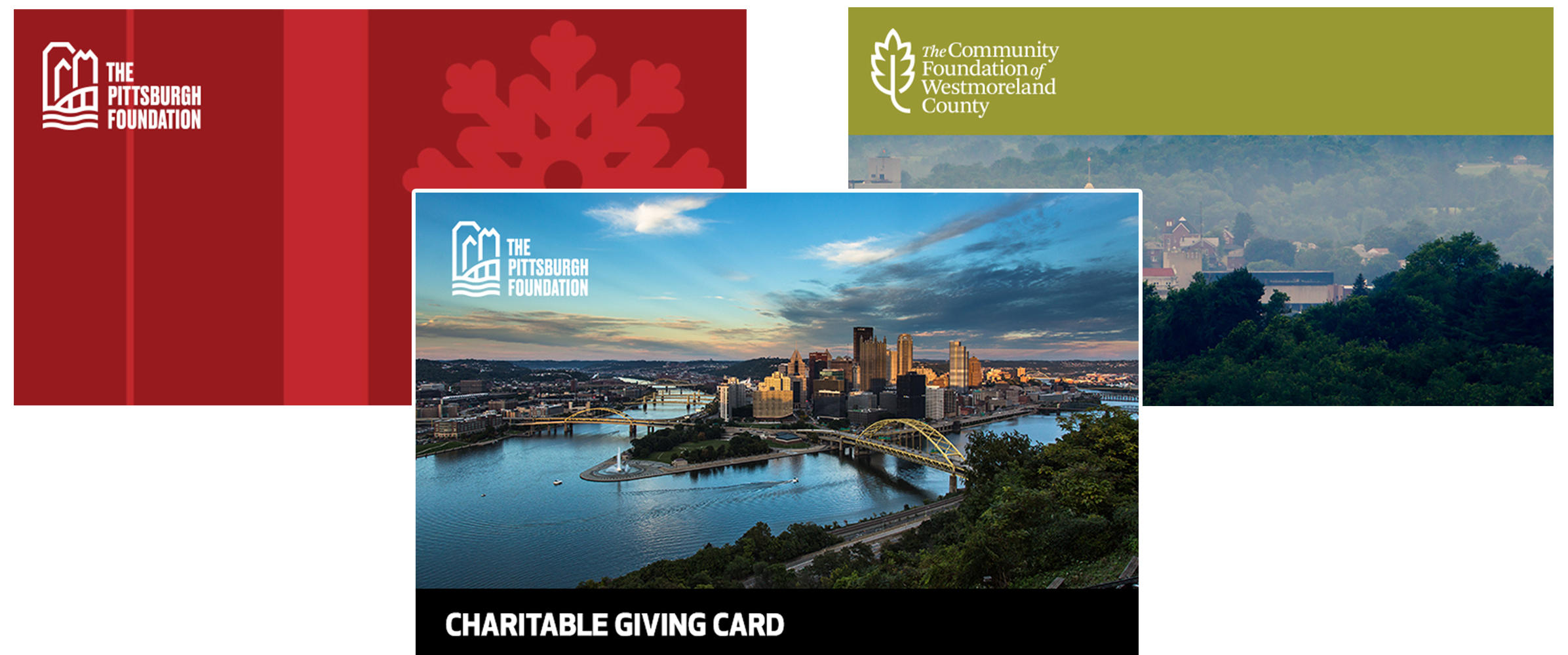 Charitable Giving Cards are available in three designs and in any denomination over $25.