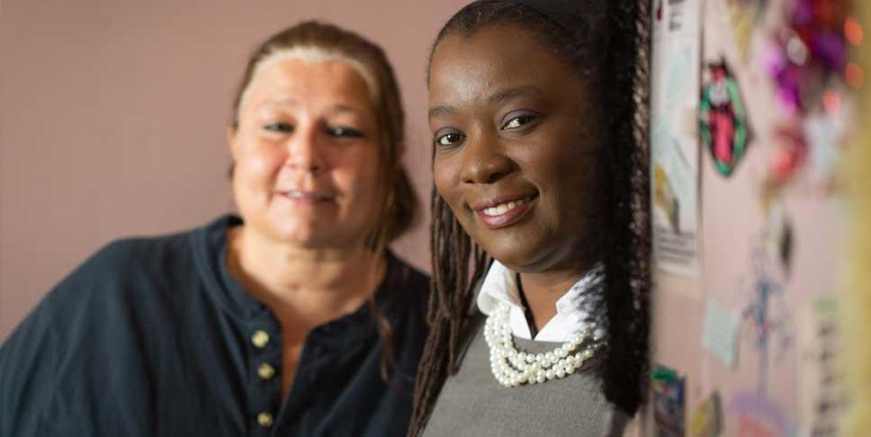 "Bethlehem Haven provides shelter and basic needs to women like Andrian, left, who are dealing with housing crises. ""I am often asked what does homeless look like. I say, look in a mirror. A homeless individual looks like you or your teenager or your grandparent,"" said Lois Mufuka Martin in 2014, when she was executive director at Bethlehem Haven. Lois is now chief volunteer engagement officer at United Way of Southwestern Pennsylvania."