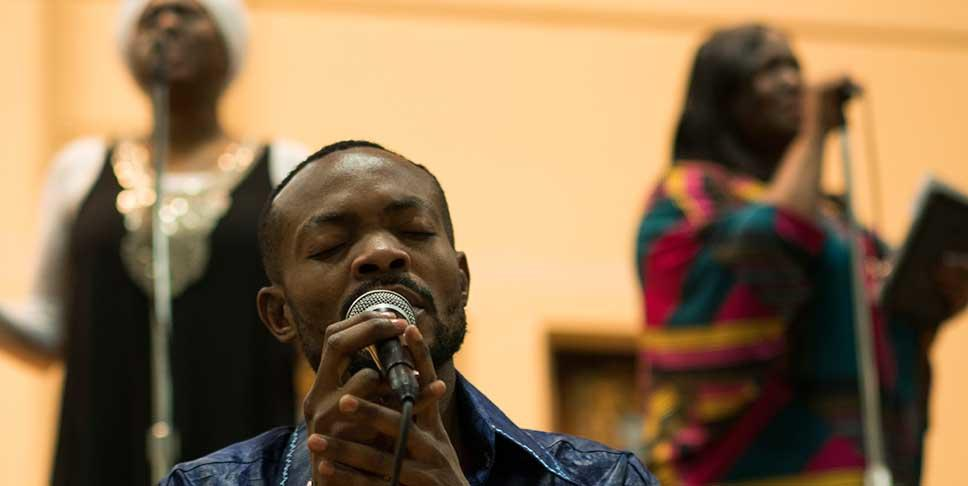 French-speaking singer Nathan Kimbeni, originally from the Democratic Republic of the Congo, began connecting with other immigrants through Afrika Yetu after arriving in Pittsburgh in 2014.