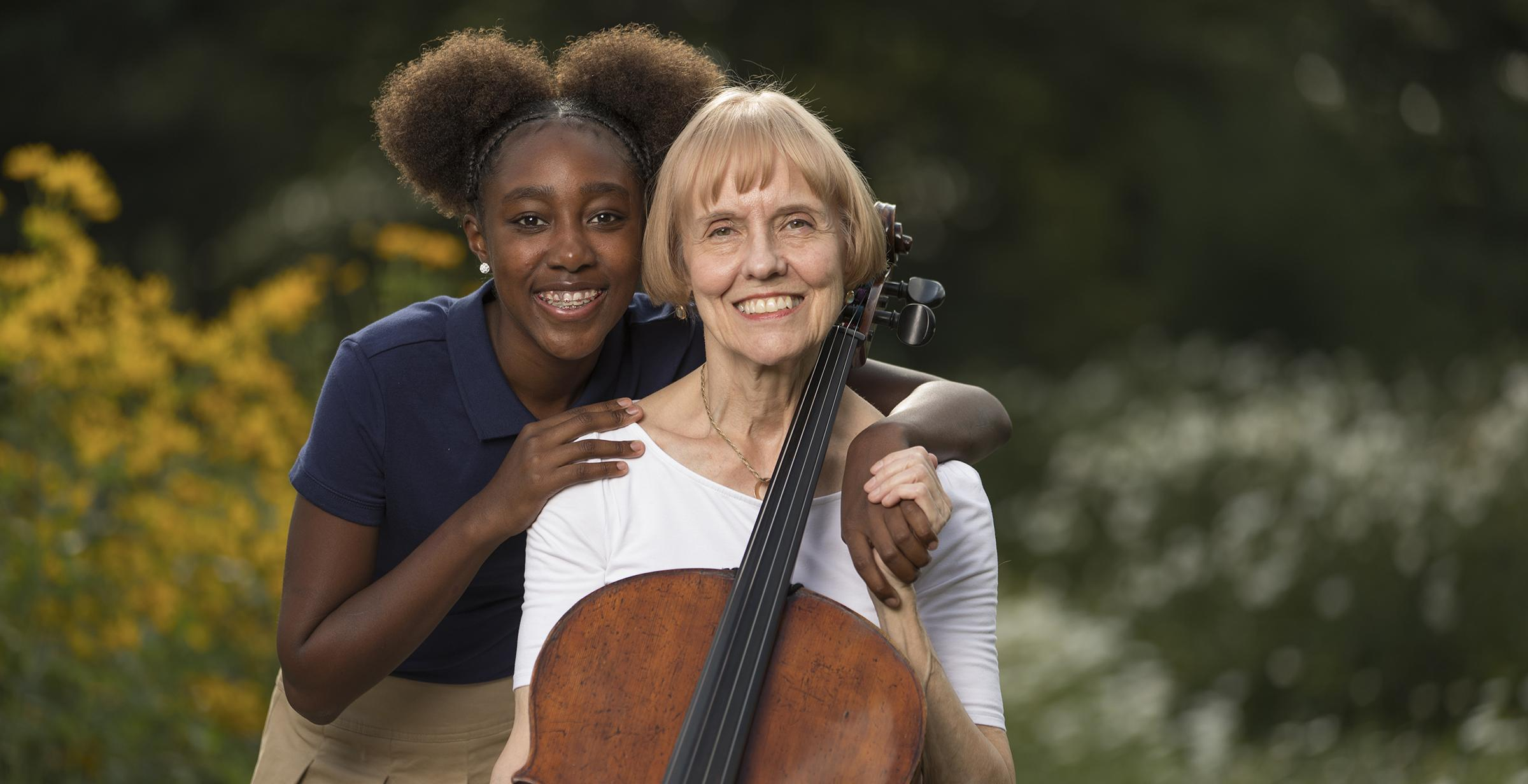 Charlotta Ross shares the gift of music education through the Paul J. and Charlotta Ross Young Musician's Fund. She is pictured here with granddaughter, McKenzie. Family members are not eligible for scholarships.